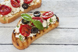 Grilled bread with toppings