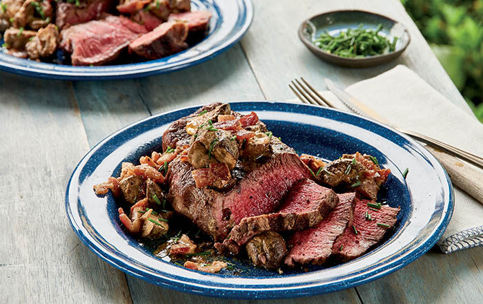 Beef Tenderloin Steaks with Seared Mushrooms and Red Wine