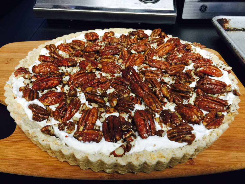 Food Schmooze(R) Brown-Butter Shortbread Pecan Pie with Double Cream