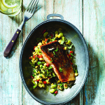 Crispy-Skin Pan-Seared Salmon with Summertime Succotash