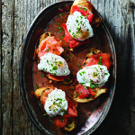 Poached Eggs and Smoked Salmon on Tapenade Mayonnaise-Smeared Bread