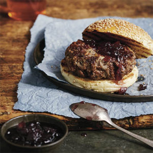 Burger with onion jam (c) Lauren Volo_recipe