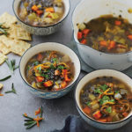 Kathy Gunst's Sicilian Black Lentil Soup with Guanciale and Grated Orange