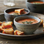 Kathy Gunst's Tomato Soup with Grilled Cheese Croutons
