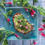 Susie Middleton's Avocado Toast with Baby Kale, Blue Cheese, Pecans, Quick-Pickled Radishes, and Honey