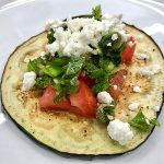 Eggplant Rounds with Goat Cheese and Herb Salsa recipe