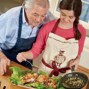 Jacques Pepin_Roast Chicken Garlic Salad recipe