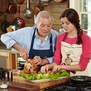 Jacques Pepin_Roast Chicken Garlic with Salad recipe