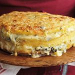 Lidia Bastianich's Polenta Torta with Gorgonzola and Savoy Cabbage