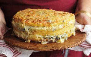 Polenta Torta with Gorgonzola and Savoy Cabbage recipe