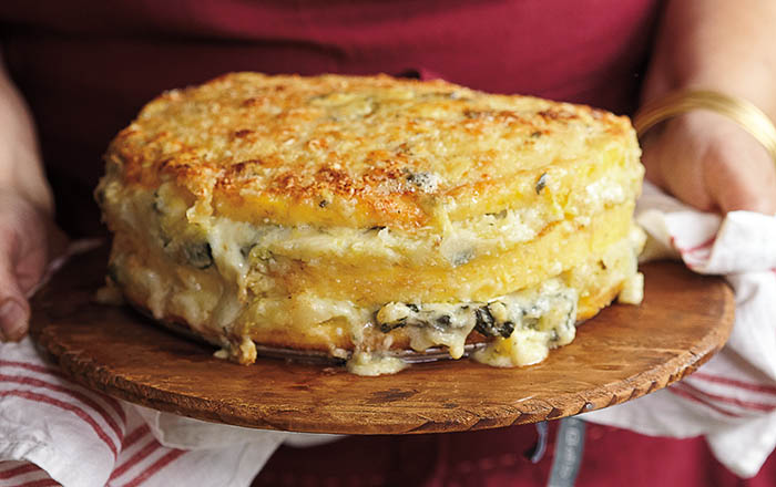 Polenta Torta with Gorgonzola and Savoy Cabbage recipe
