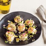 Seared Sea Scallops with Microgreens Salad and Miso and Lime Dressing