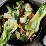 Braised Lamb Shanks with Bok Choy and Sweet-and-Sour Dill Oil