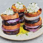 Mark Bittman's Sweet Potato–Eggplant Stacks with Lime Ricotta