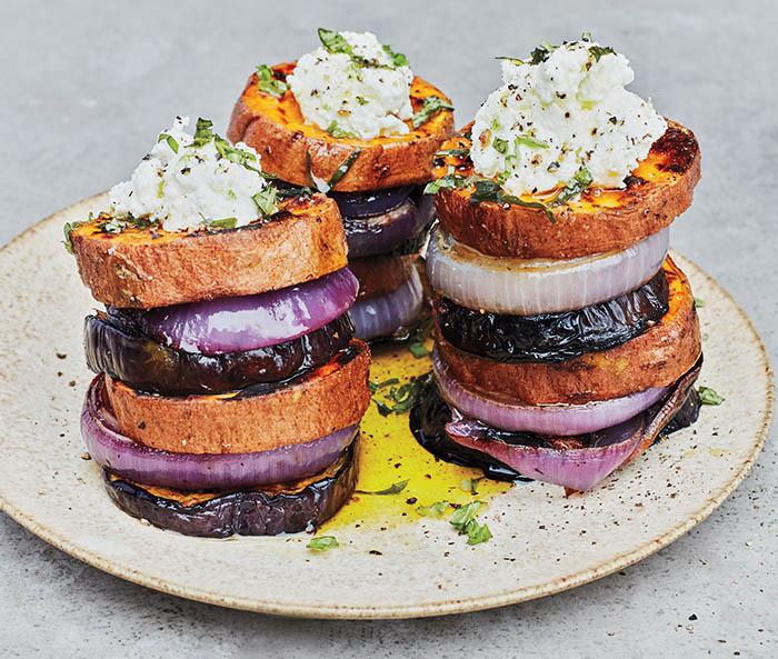 Sweet Potato–Eggplant Stacks with Lime Ricotta_recipe