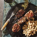 Porchetta-Style Pork Kebabs with White Beans