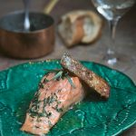 Salmon with Tarragon Butter, Grilled on the Skin