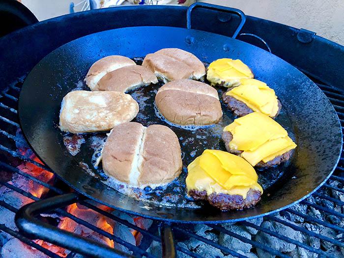 Paella pan smashed burgers