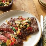 Searing Inspiration_Skirt Steaks With Artichoke Pickled Pepper Relish recipe
